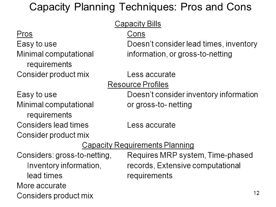 Capacity Planning Techniques: Pros and Cons