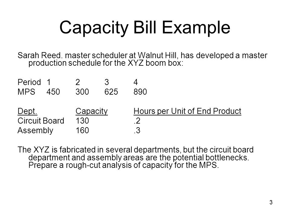 Capacity Bill Example Sarah Reed. master scheduler at Walnut Hill, has developed a master production schedule for the XYZ boom box: