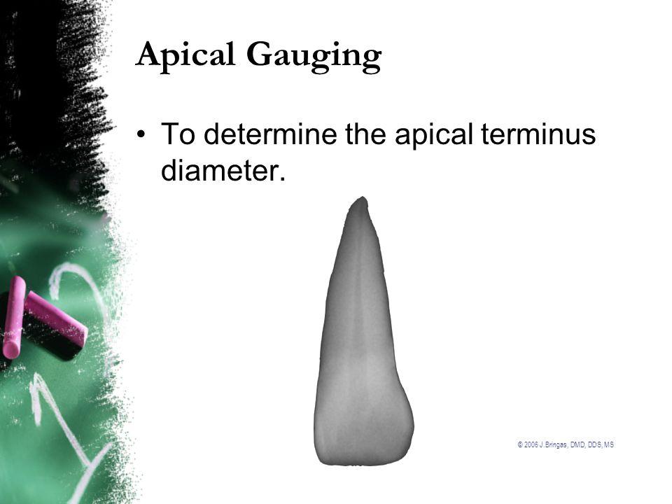 Apical Gauging To determine the apical terminus diameter.