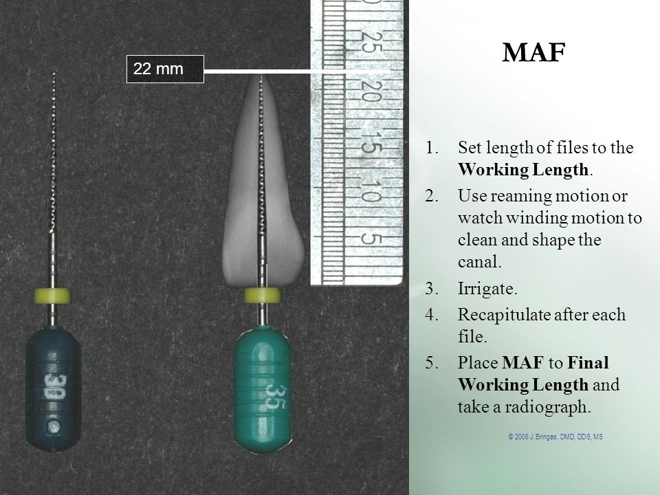 MAF Set length of files to the Working Length.