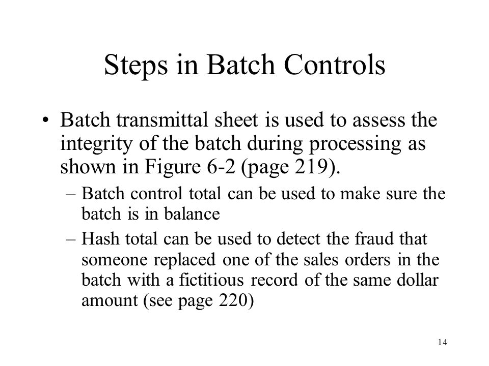 Steps in Batch Controls