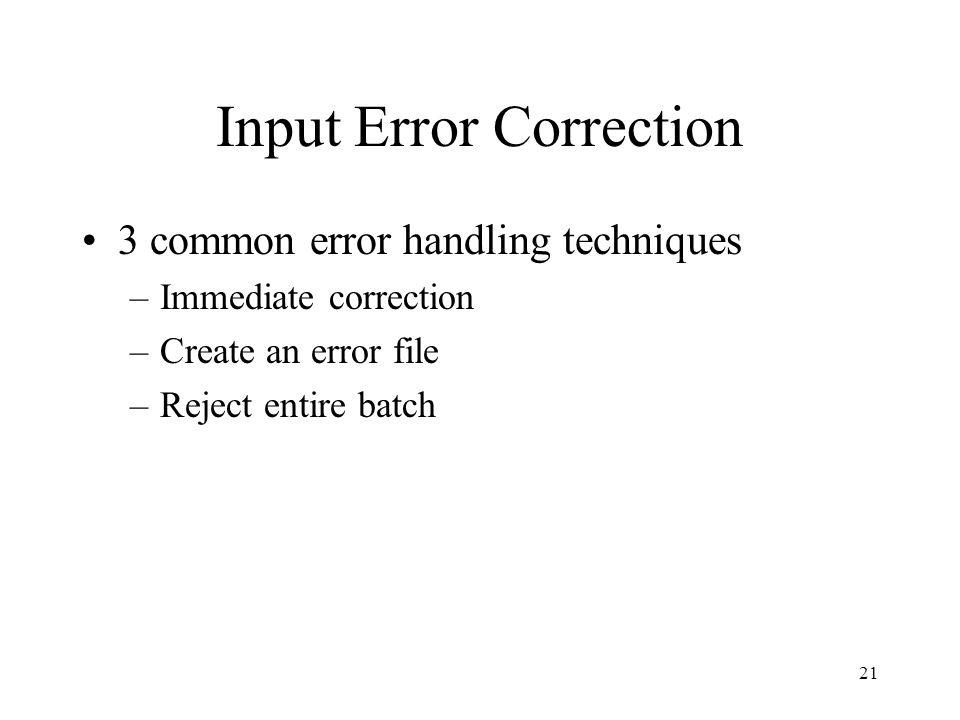 Input Error Correction