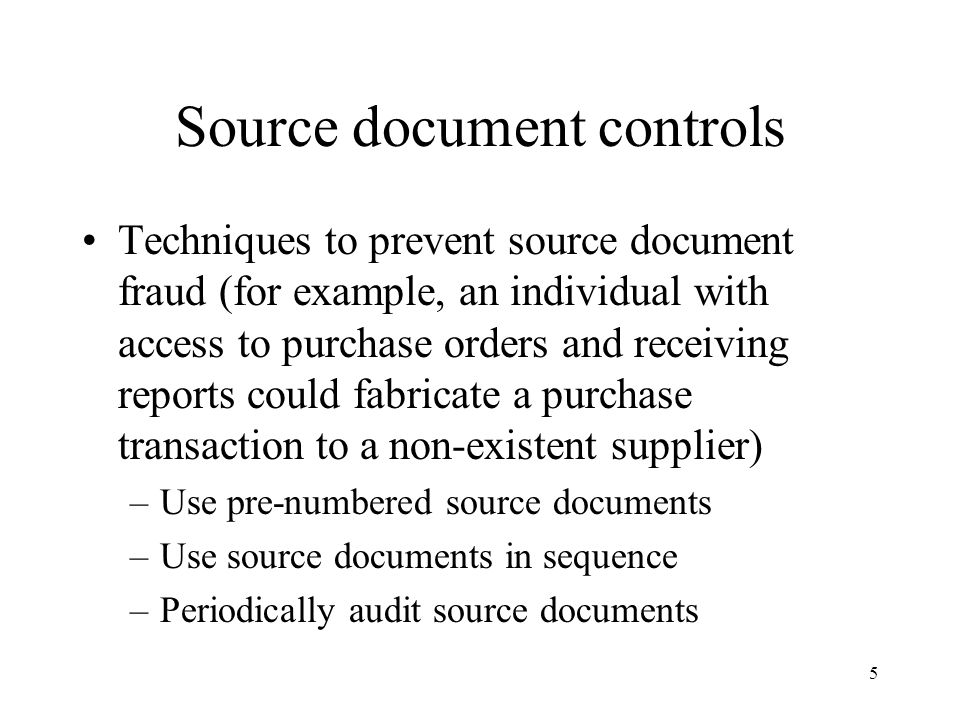 Source document controls