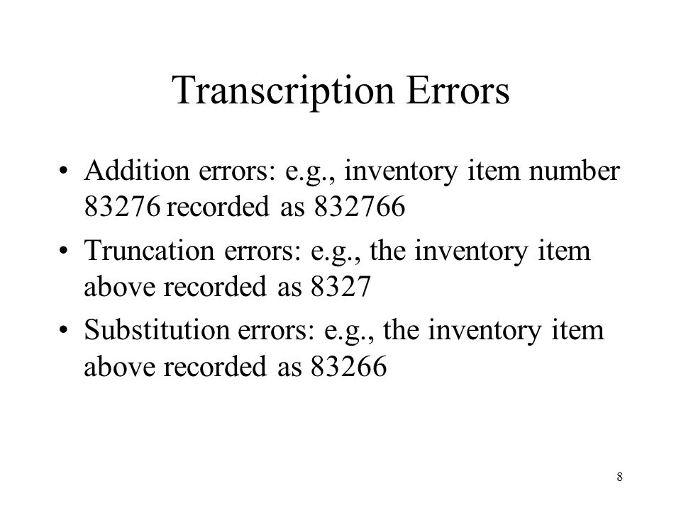 Transcription Errors Addition errors: e.g., inventory item number 83276 recorded as 832766.