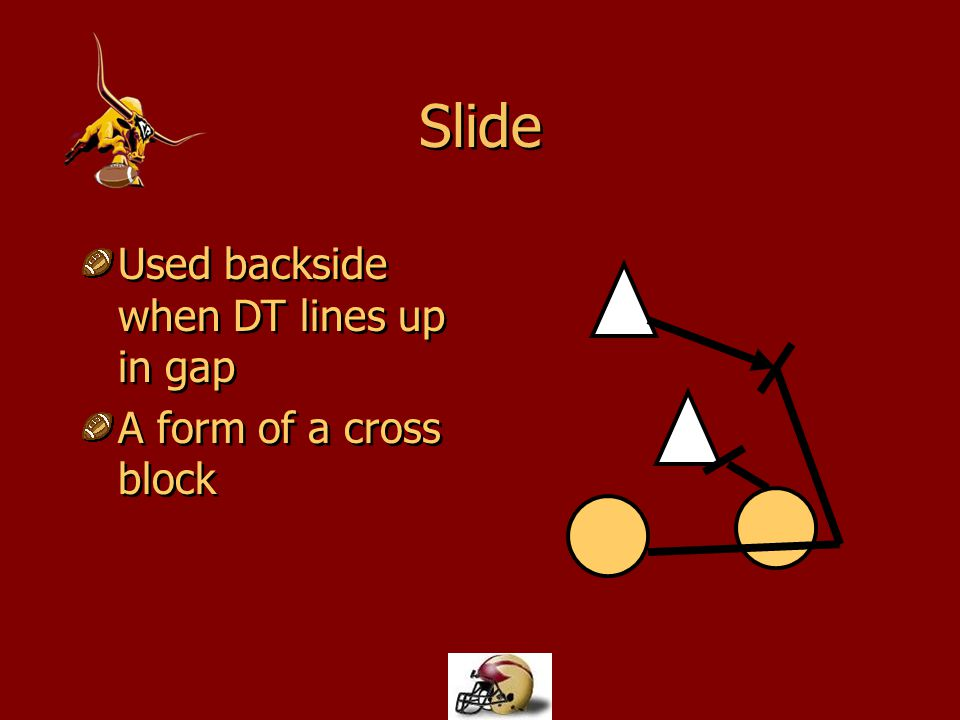 Slide Used backside when DT lines up in gap A form of a cross block