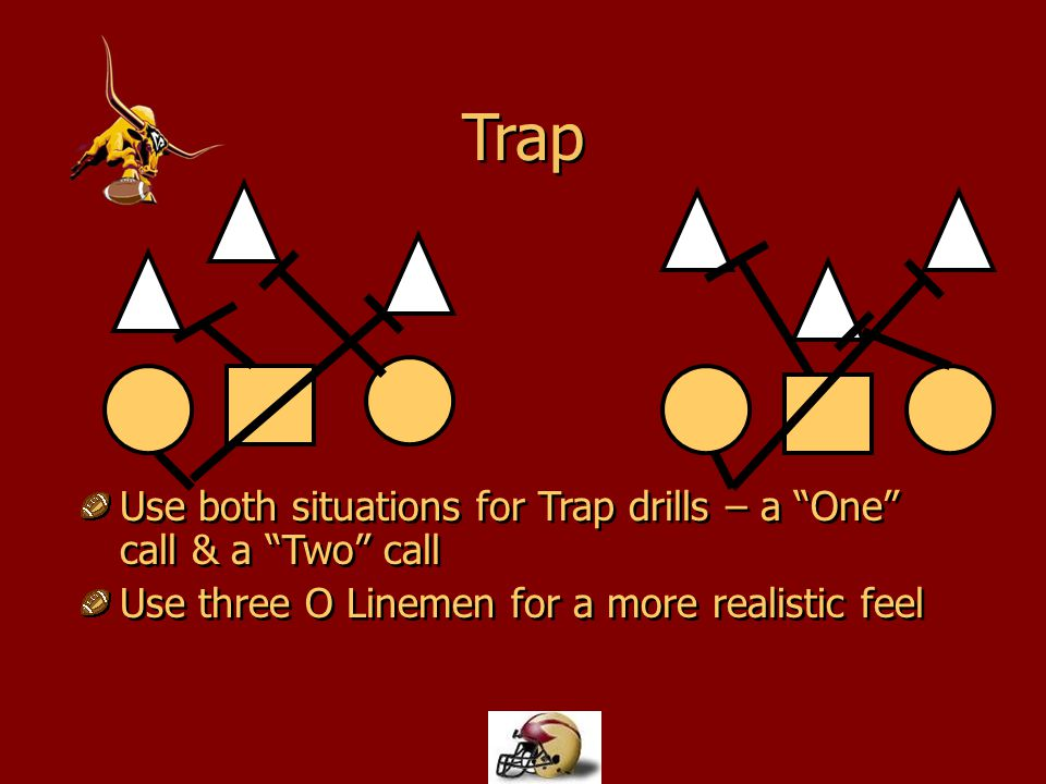 Trap Use both situations for Trap drills – a One call & a Two call
