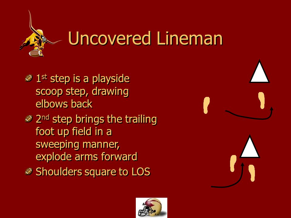 Uncovered Lineman 1st step is a playside scoop step, drawing elbows back.