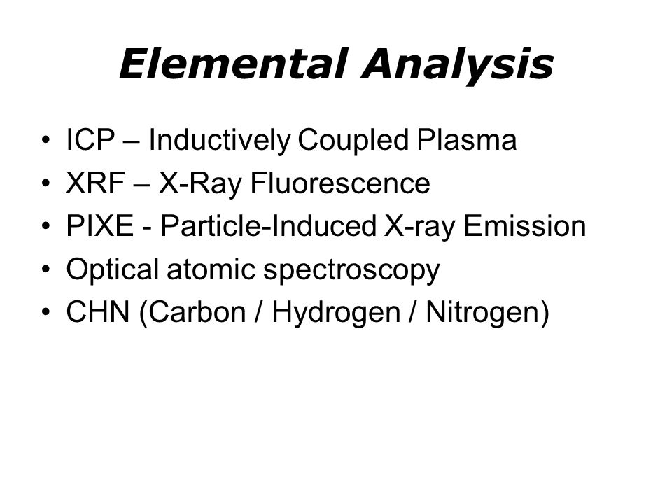 Elemental Analysis ICP – Inductively Coupled Plasma