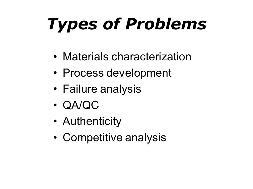 Types of Problems Materials characterization Process development