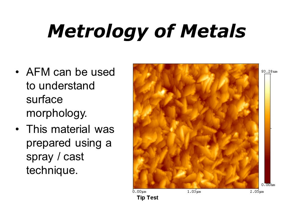 Metrology of Metals AFM can be used to understand surface morphology.