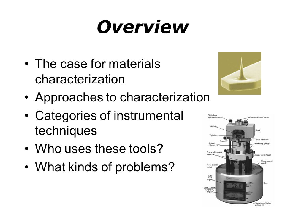 Overview The case for materials characterization