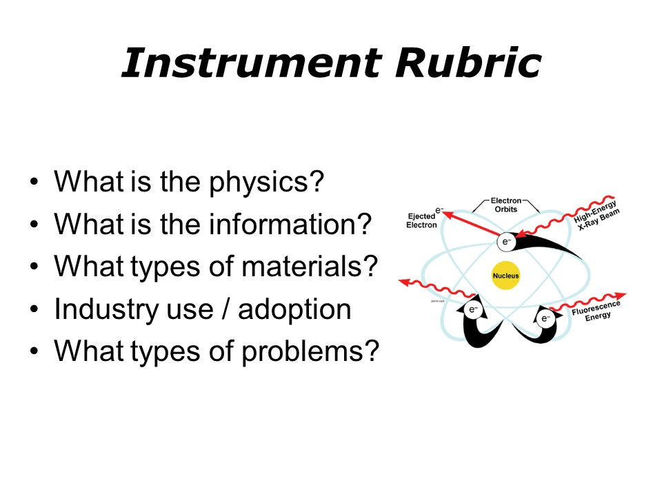 Instrument Rubric What is the physics What is the information
