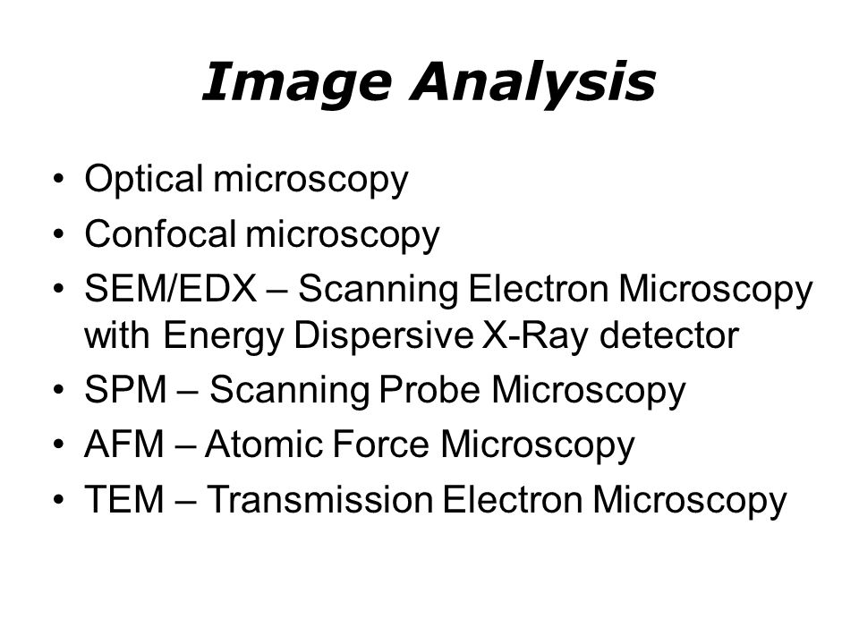 Image Analysis Optical microscopy Confocal microscopy