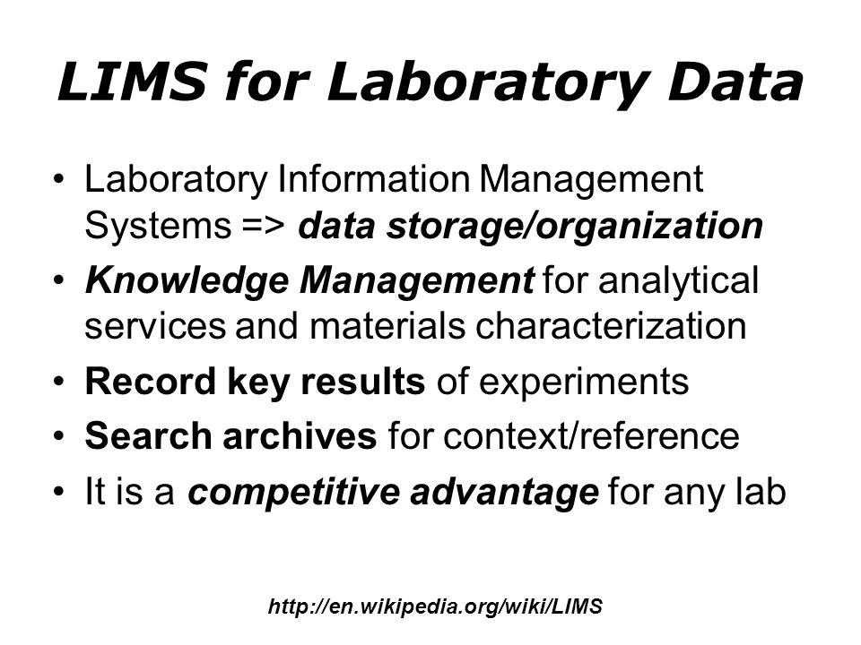 LIMS for Laboratory Data