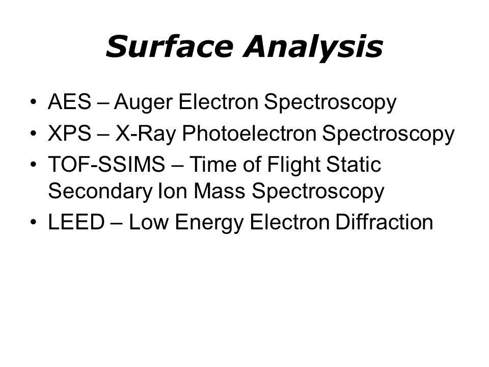 Surface Analysis AES – Auger Electron Spectroscopy