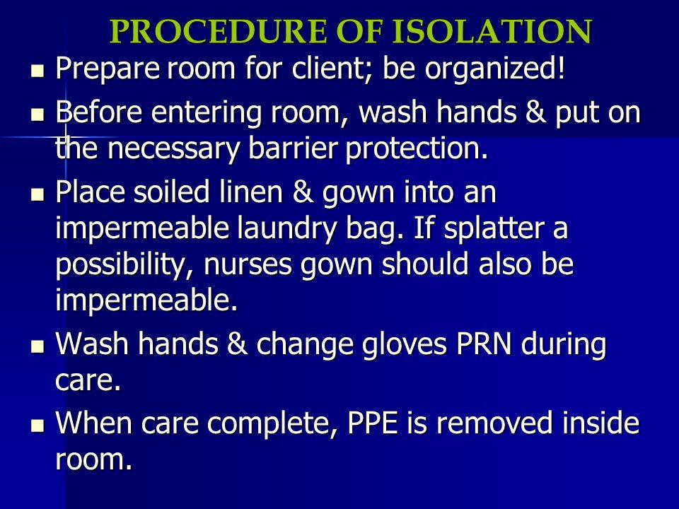 PROCEDURE OF ISOLATION