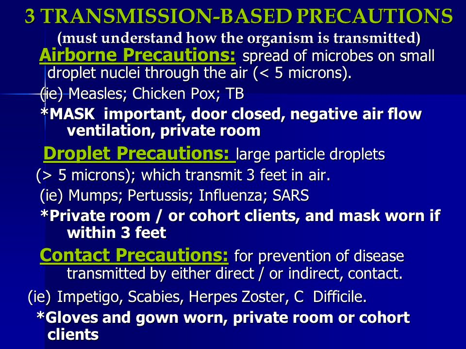 3 TRANSMISSION-BASED PRECAUTIONS (must understand how the organism is transmitted)