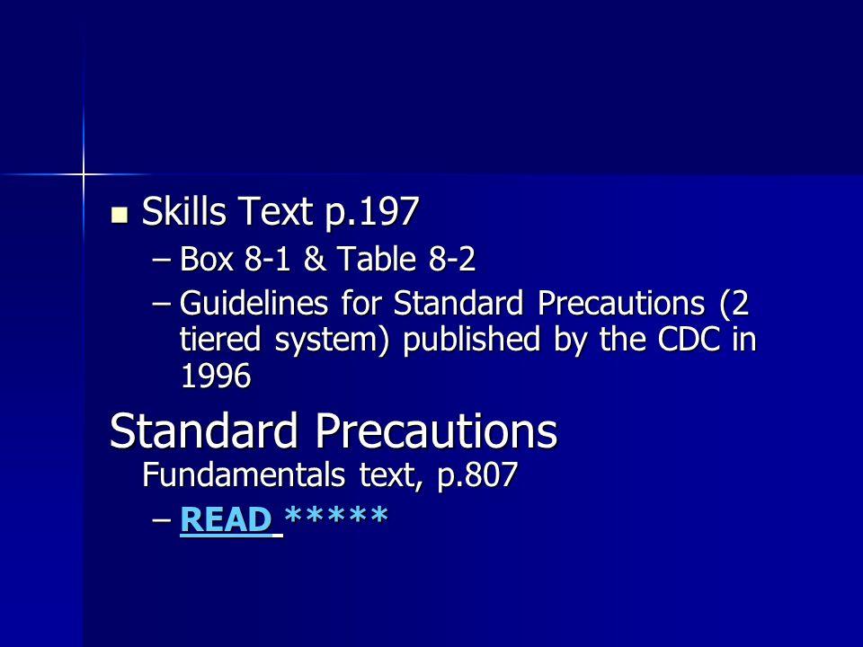 Standard Precautions Fundamentals text, p.807
