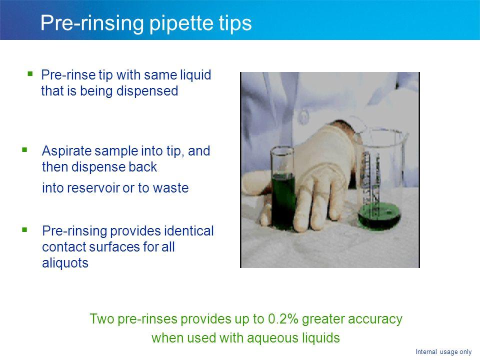 Pre-rinsing pipette tips