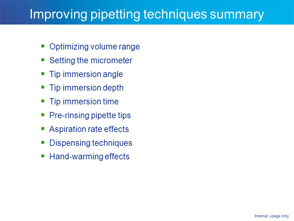 Improving pipetting techniques summary