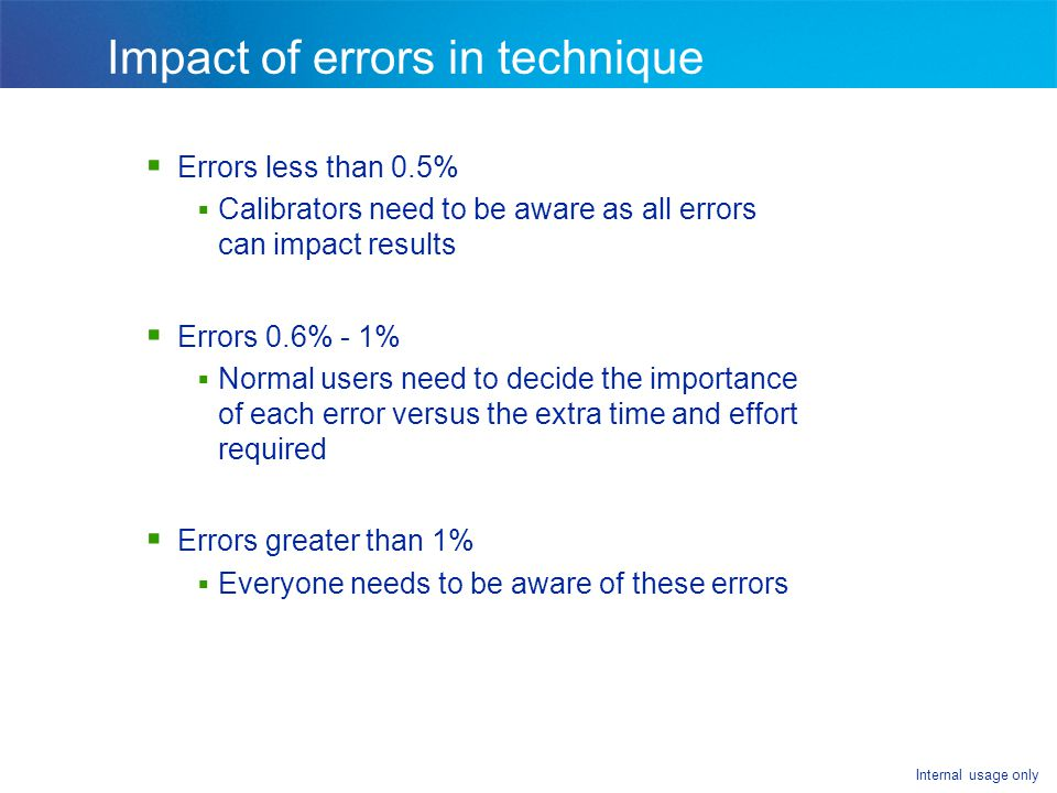 Impact of errors in technique