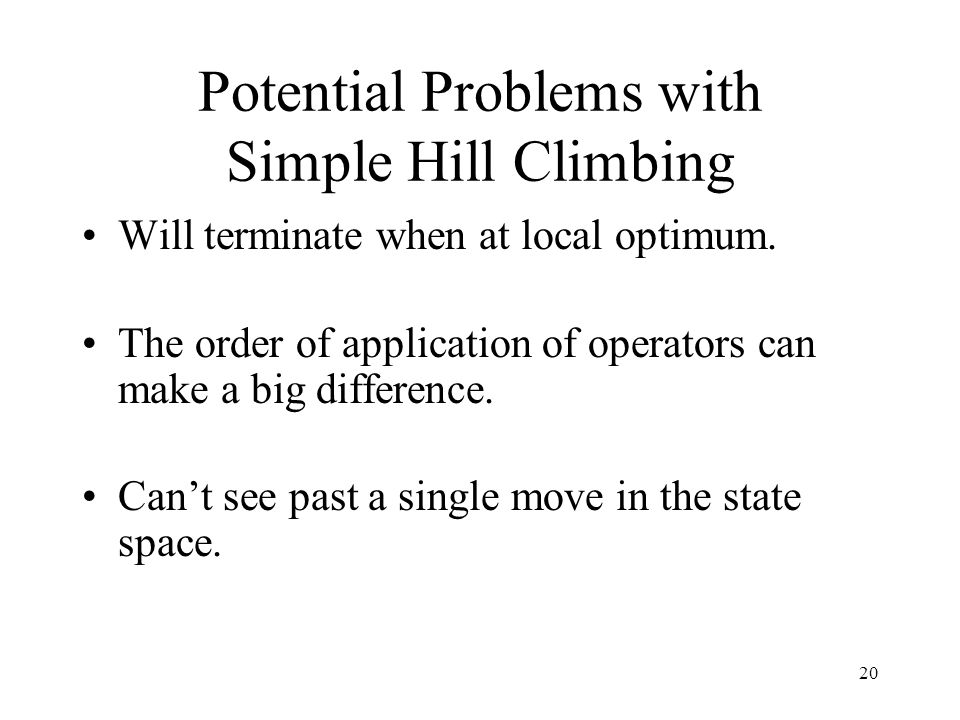 Potential Problems with Simple Hill Climbing
