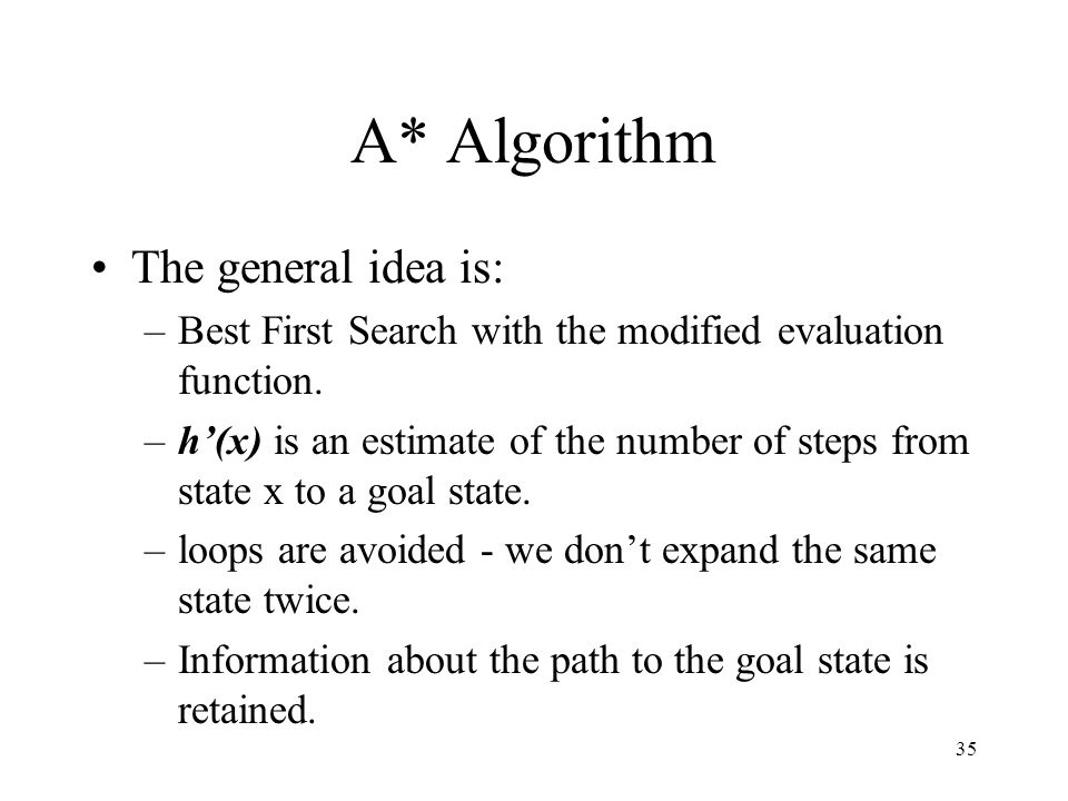 A* Algorithm The general idea is: