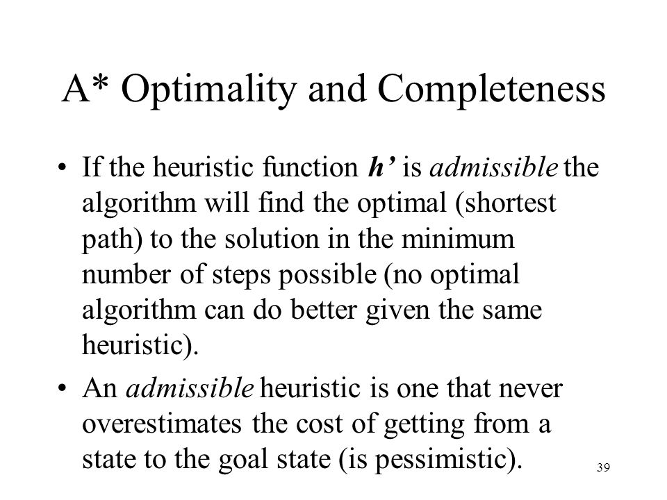 A* Optimality and Completeness