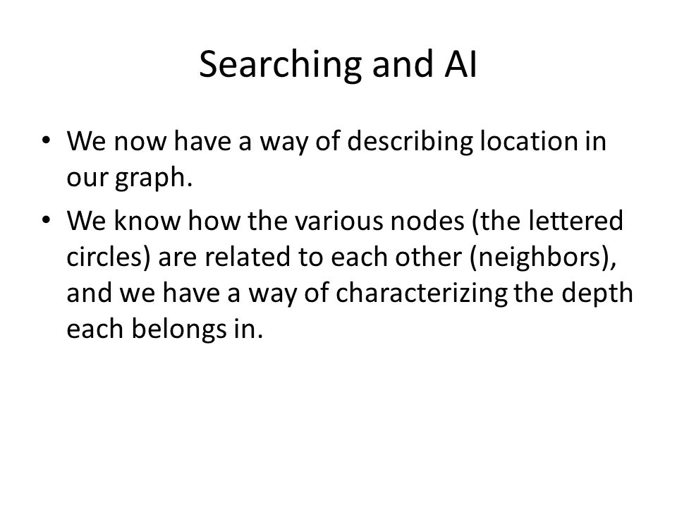 Searching and AI We now have a way of describing location in our graph.