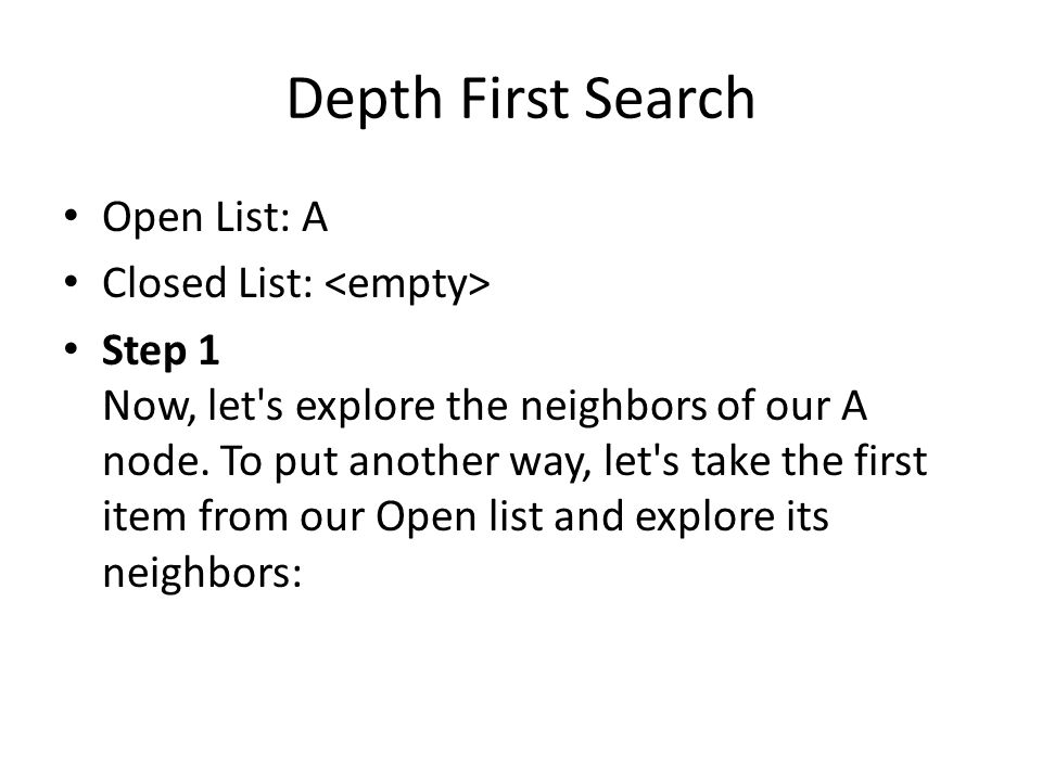 Depth First Search Open List: A Closed List: <empty>