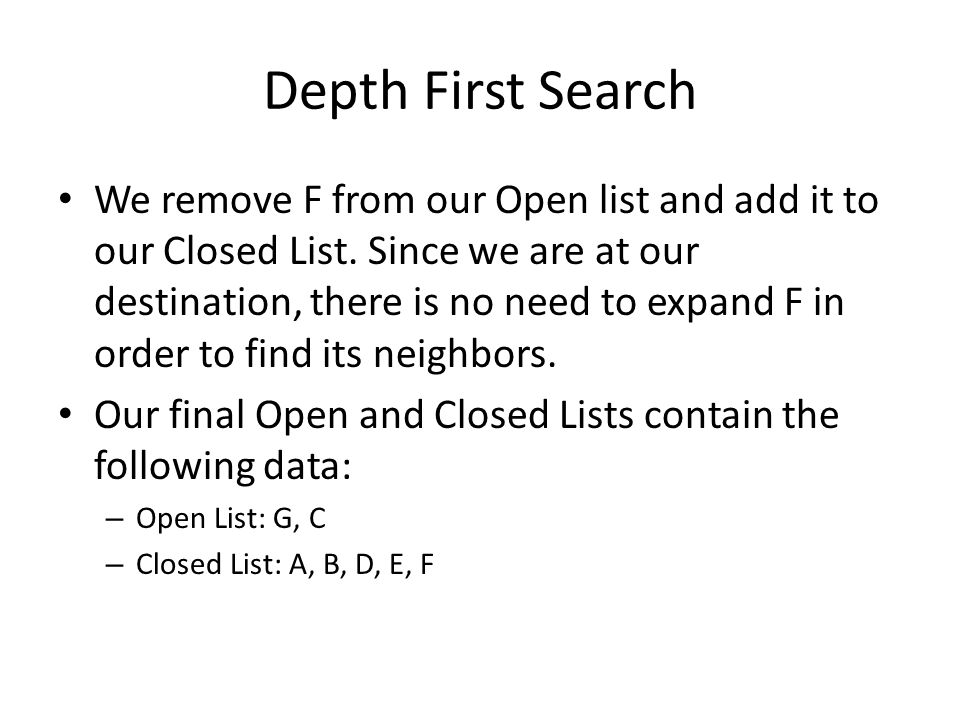 Depth First Search