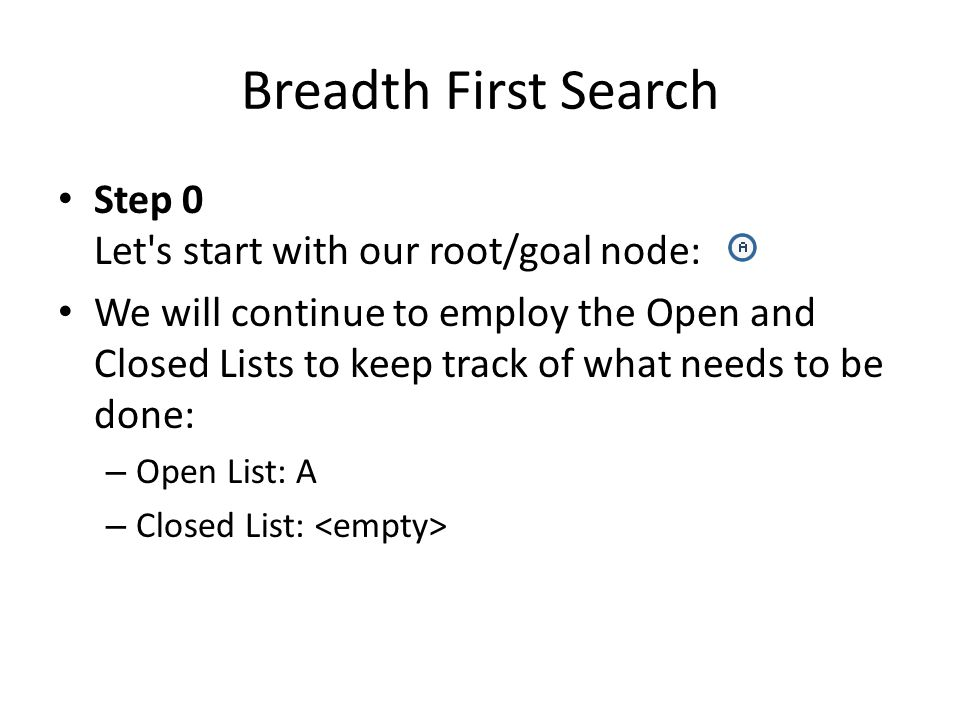 Breadth First Search Step 0 Let s start with our root/goal node: