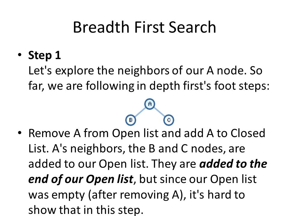 Breadth First Search Step 1 Let s explore the neighbors of our A node. So far, we are following in depth first s foot steps: