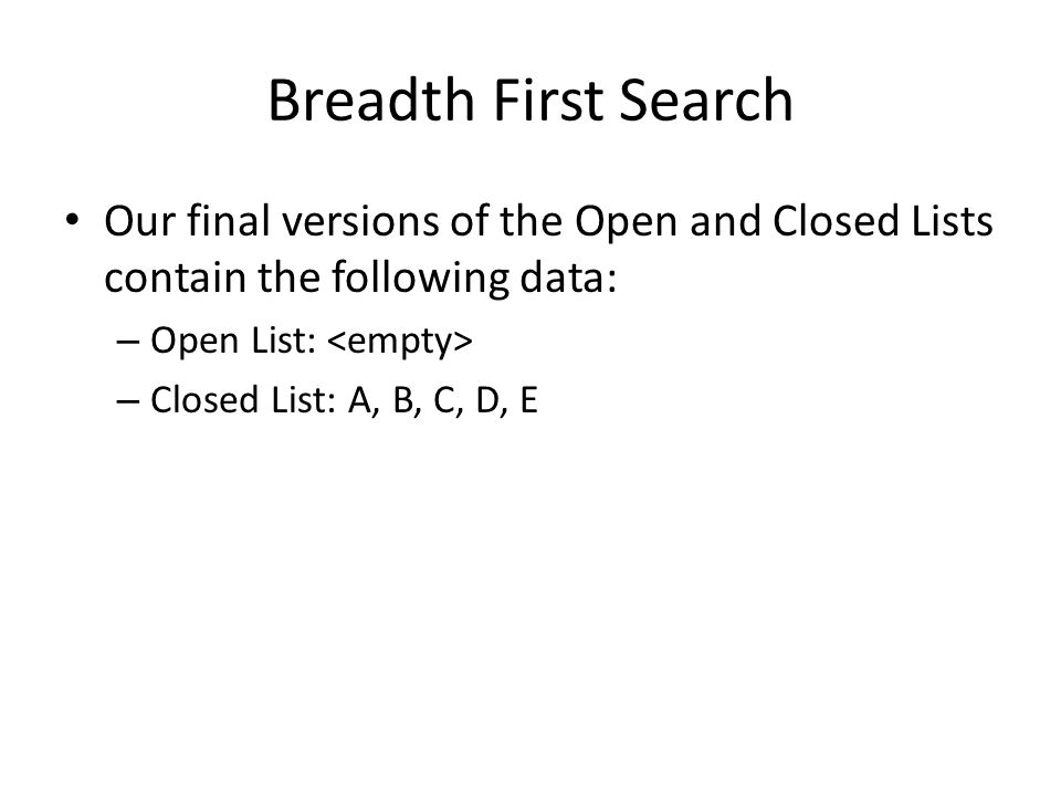 Breadth First Search Our final versions of the Open and Closed Lists contain the following data: Open List: <empty>