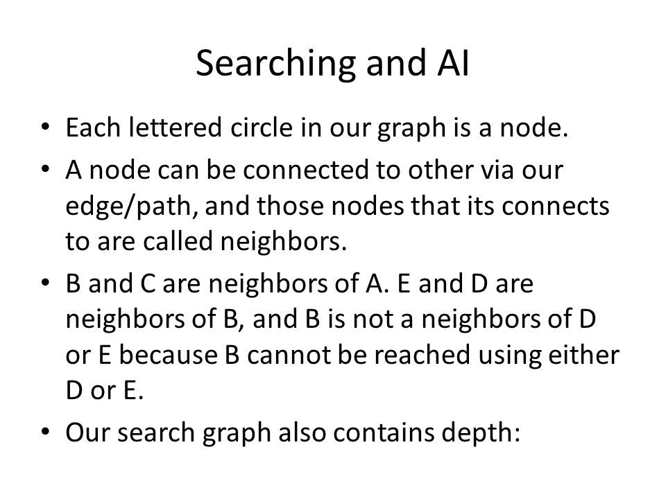 Searching and AI Each lettered circle in our graph is a node.