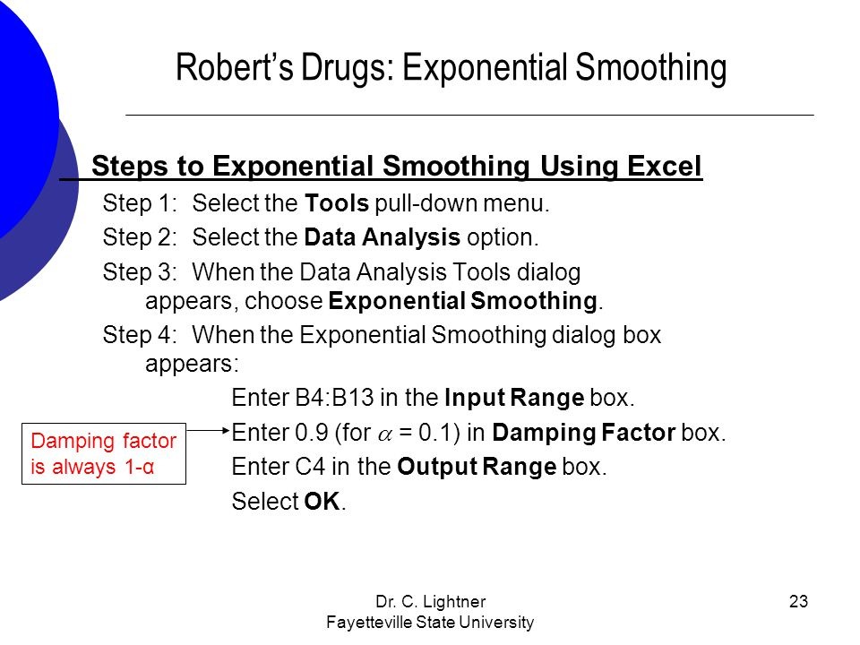 Robert's Drugs: Exponential Smoothing