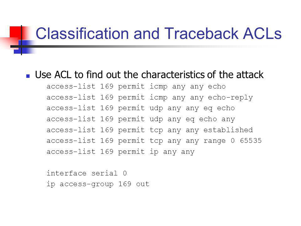 Classification and Traceback ACLs