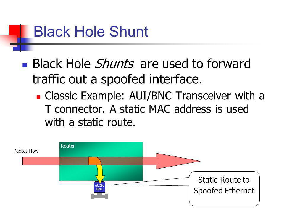 Static Route to Spoofed Ethernet