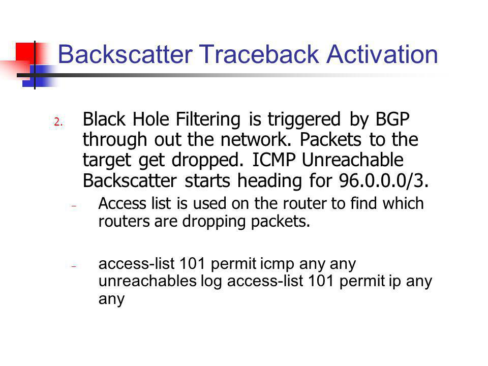 Backscatter Traceback Activation