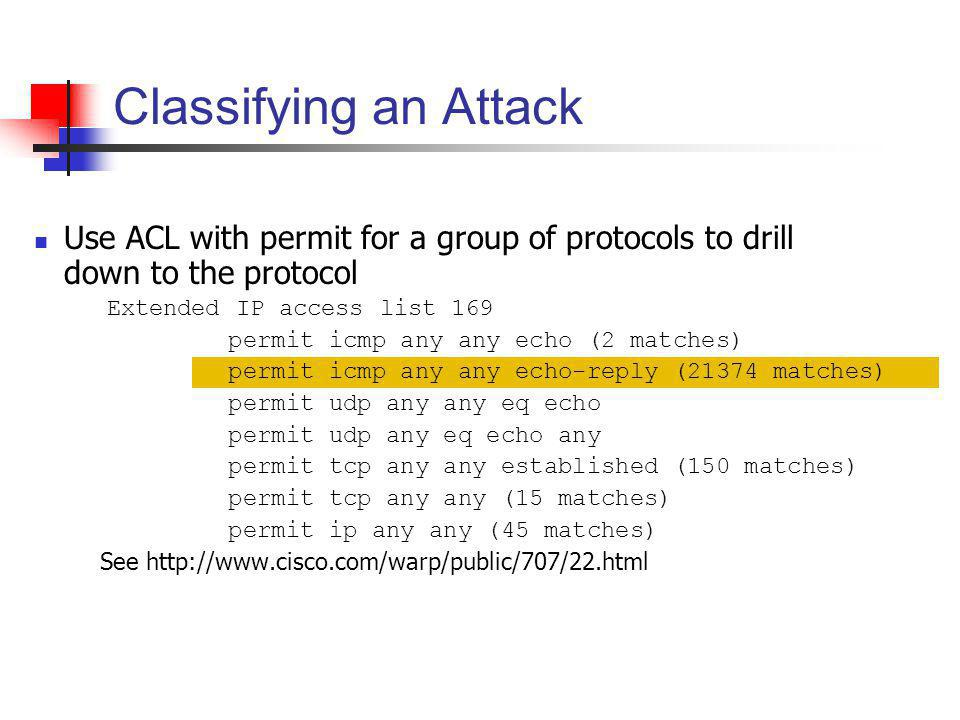 Classifying an Attack Use ACL with permit for a group of protocols to drill down to the protocol. Extended IP access list 169.