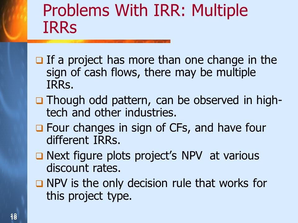 Problems With IRR: Multiple IRRs