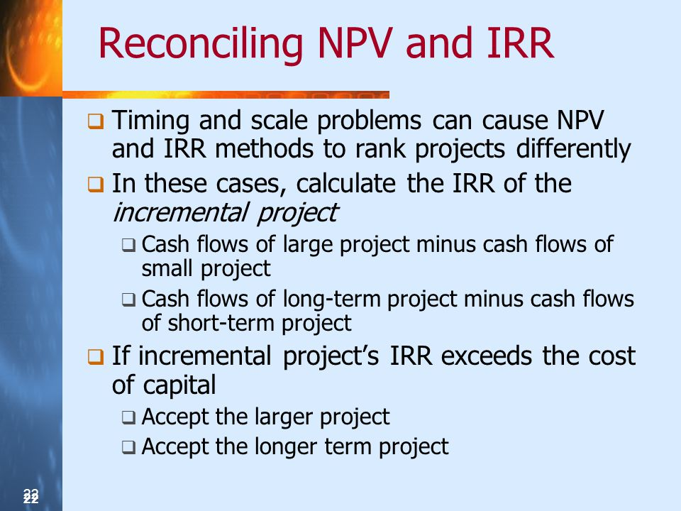 Reconciling NPV and IRR