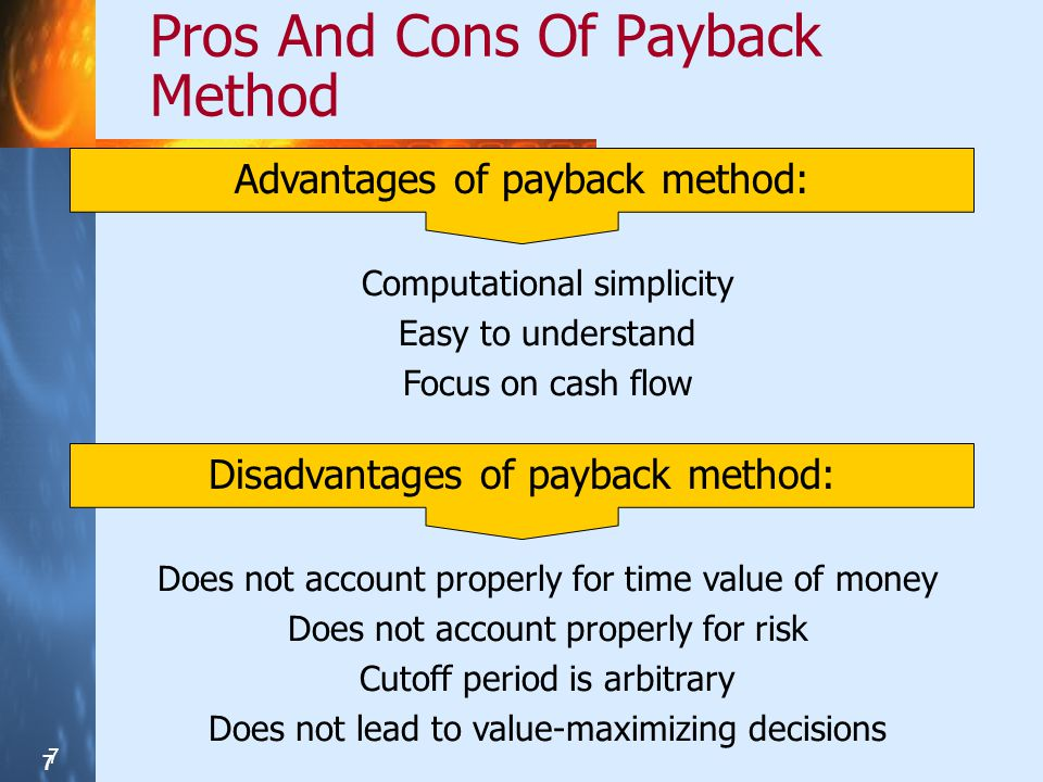 Pros And Cons Of Payback Method