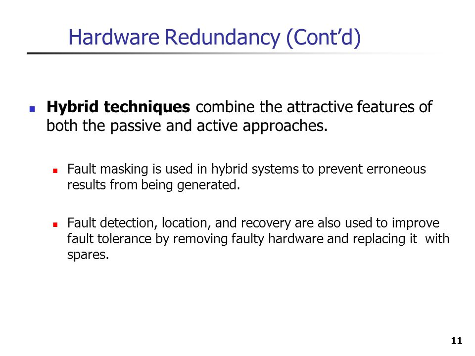 Hardware Redundancy (Cont'd)