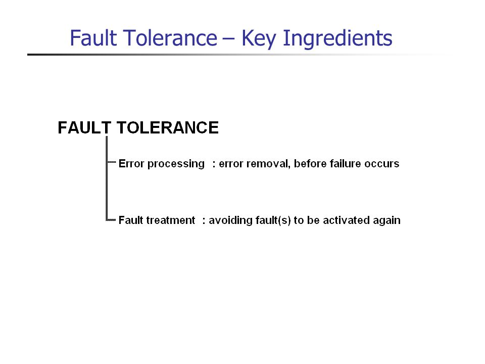 Fault Tolerance – Key Ingredients