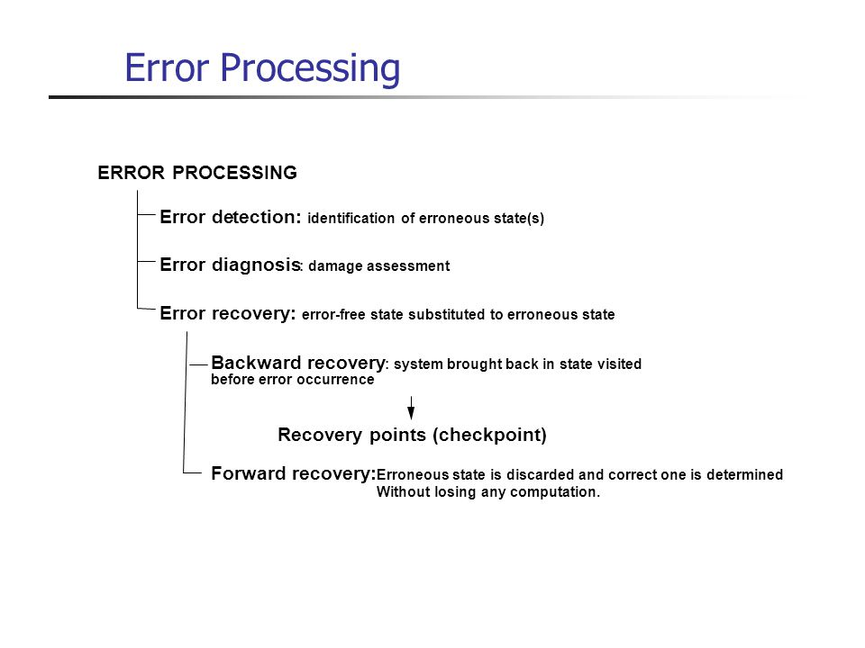Error Processing ERROR PROCESSING Error de tection: Error diagnosis