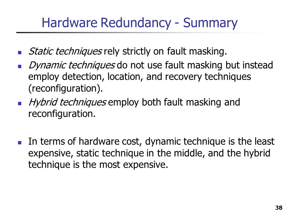Hardware Redundancy - Summary
