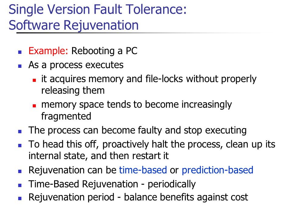 Single Version Fault Tolerance: Software Rejuvenation