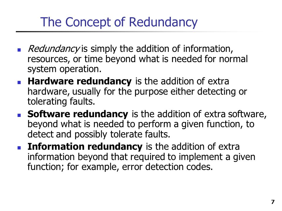 The Concept of Redundancy
