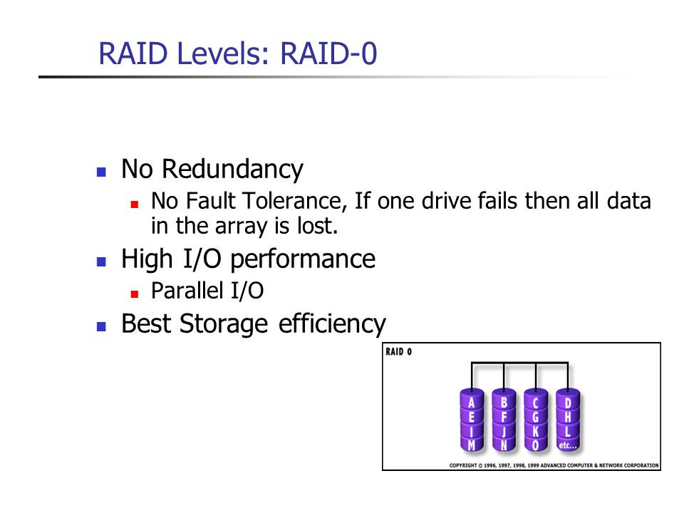 RAID Levels: RAID-0 No Redundancy High I/O performance